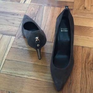 Stuart Weiztman VEUC worn once brown suede heels